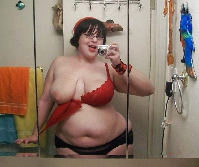 selfie femme ronde lingerie